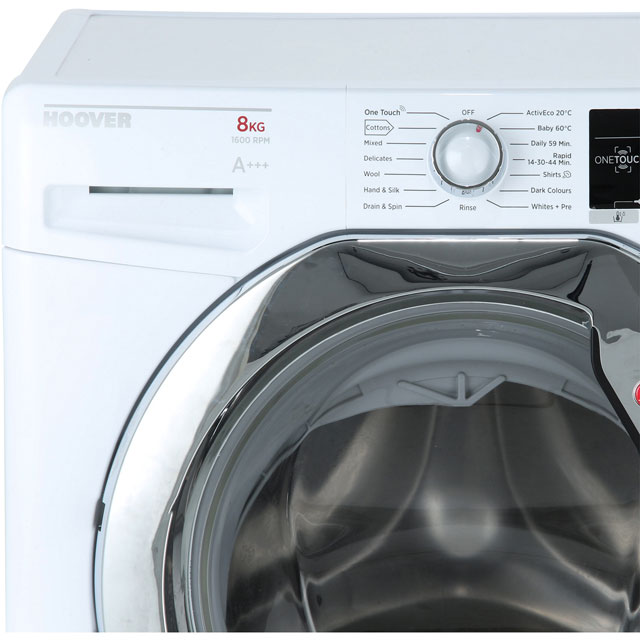 Hoover Dynamic Next Advance DXOA68C3 8Kg Washing Machine with 1600 rpm - White / Chrome - A+++ Rated - DXOA68C3_WH - 2