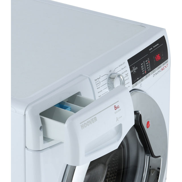 Hoover Dynamic Next Advance DXOA68C3 8Kg Washing Machine with 1600 rpm - White / Chrome - A+++ Rated - DXOA68C3_WH - 4