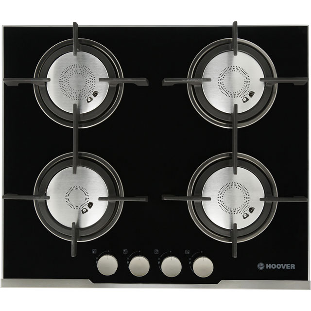 Hoover Vogue HGV64SXVB 60cm Gas Hob - Stainless Steel / Black Glass - HGV64SXVB_SSB - 1