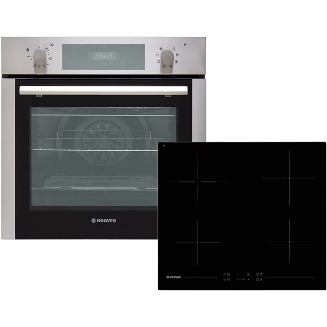 Hoover HPKCER60X Built In Electric Single Oven and Ceramic Hob Pack - Stainless Steel / Black - A Rated - HPKCER60X_SSB - 1