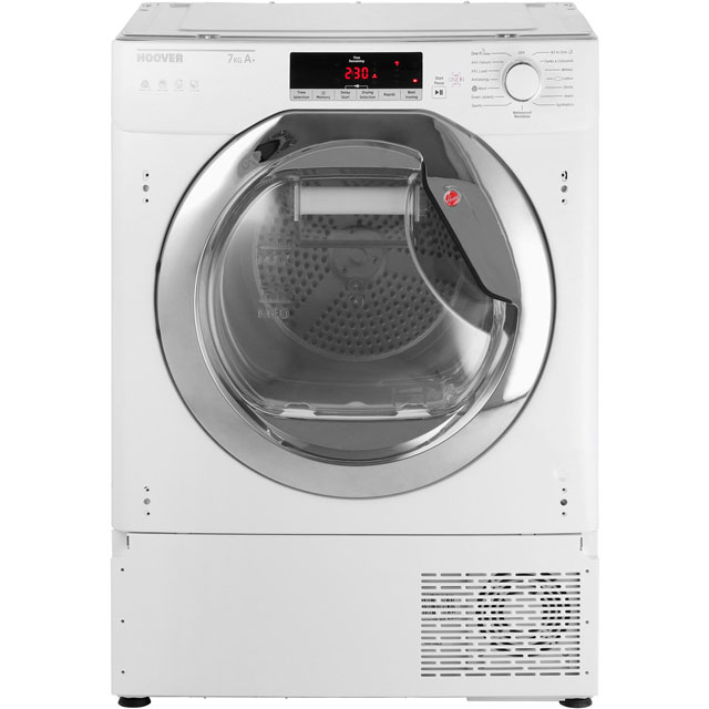 Hoover HTDBWH7A1TCE Integrated Wifi Connected 7Kg Heat Pump Tumble Dryer - White / Chrome - A+ Rated - HTDBWH7A1TCE_WH - 1