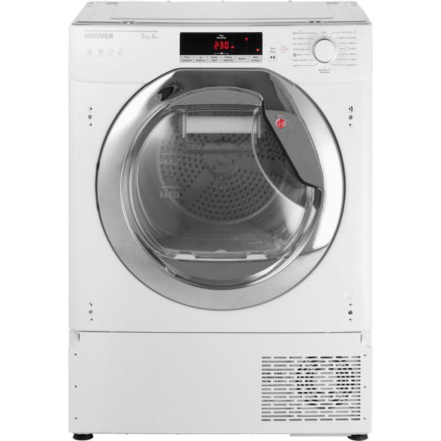 Hoover H-DRY 700 HTDBWH7A1TCE Integrated Wifi Connected 7Kg Heat Pump Tumble Dryer - White / Chrome