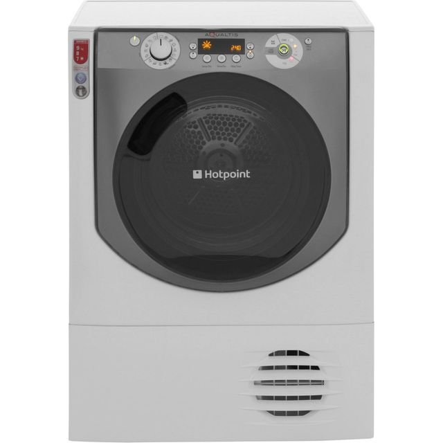 Hotpoint Aqualtis Free Standing Condenser Tumble Dryer in White / Tungsten