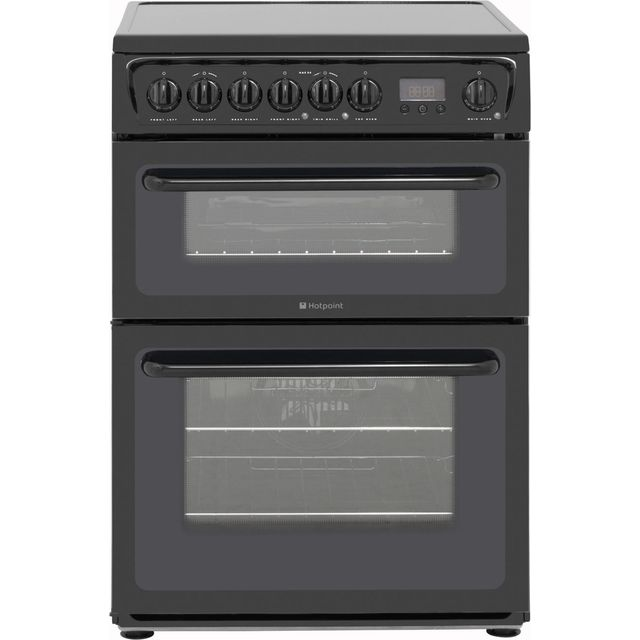 Hotpoint Newstyle HAE60KS Electric Cooker with Ceramic Hob - Black - B/B Rated - HAE60KS_BK - 1