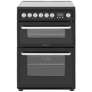 Hotpoint HARE60K 60cm Electric Cooker with Ceramic Hob - Black - B/ B Rated - HARE60K_BK - 1
