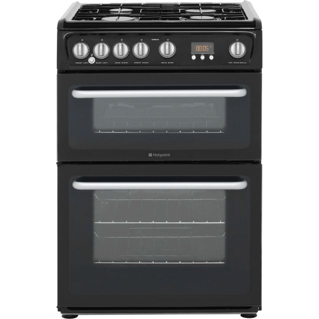 Hotpoint Newstyle HARG60K 60cm Gas Cooker with Variable Gas Grill - Black - A+/A Rated - HARG60K_BK - 1