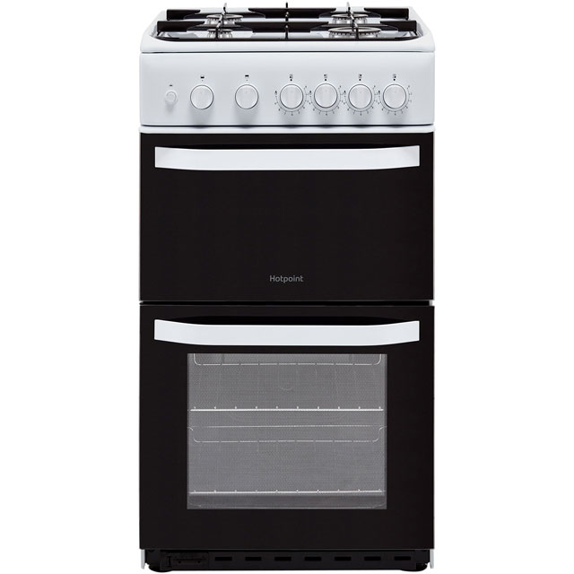 Hotpoint Cloe HD5G00KCW 50cm Gas Cooker with Full Width Gas Grill - White - A Rated - HD5G00KCW_WH - 1