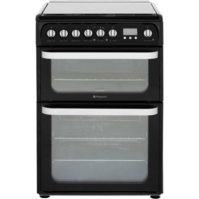Hotpoint Ultima HUD61KS 60cm Dual Fuel Cooker - Black - A/A Rated - HUD61KS_BK - 1