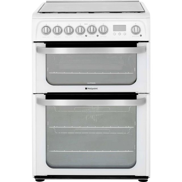 Hotpoint Ultima HUD61PS 60cm Dual Fuel Cooker - White - A/A Rated - HUD61PS_WH - 1