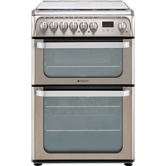 Hotpoint Ultima HUD61XS 60cm Dual Fuel Cooker - Stainless Steel - A/A Rated - HUD61XS_SS - 1