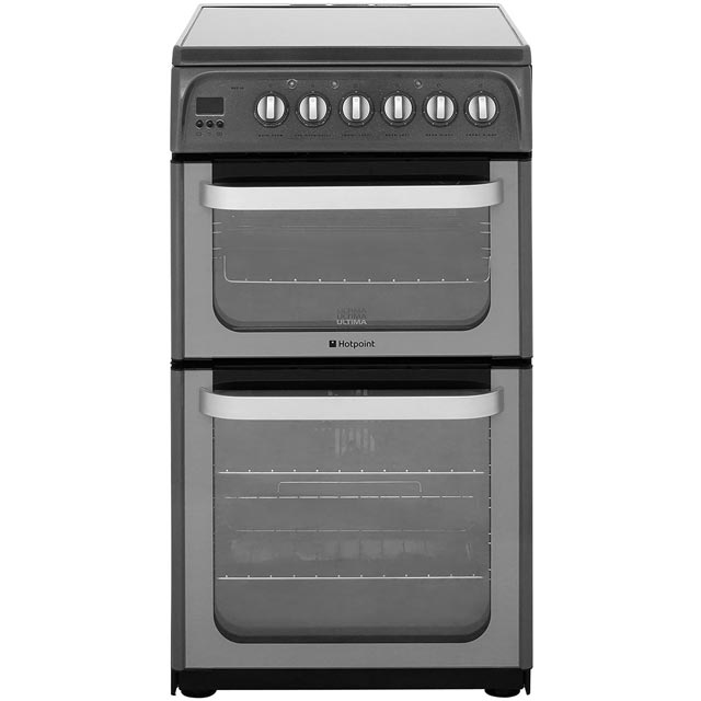 Hotpoint Ultima HUE52GS Electric Cooker with Ceramic Hob - Graphite - A/B Rated - HUE52GS_GH - 1