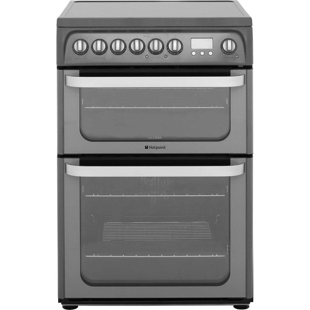 Hotpoint Ultima HUE61GS Electric Cooker with Ceramic Hob - Graphite - A/A Rated - HUE61GS_GH - 1