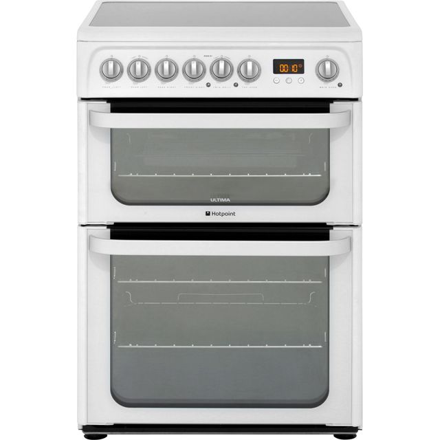 Hotpoint Ultima HUE61PS Electric Cooker with Ceramic Hob - White - A/A Rated - HUE61PS_WH - 1