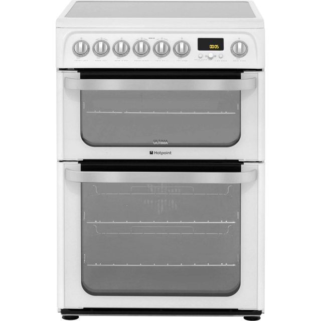 Hotpoint Ultima HUE62PS Electric Cooker with Ceramic Hob - White - A Rated Best Price, Cheapest Prices