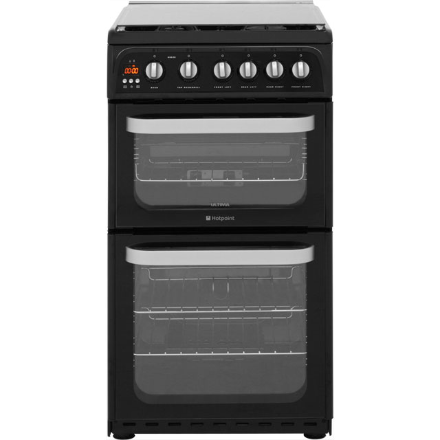 Hotpoint Ultima HUG52K Gas Cooker with Full Width Gas Grill - Black - A+/A Rated