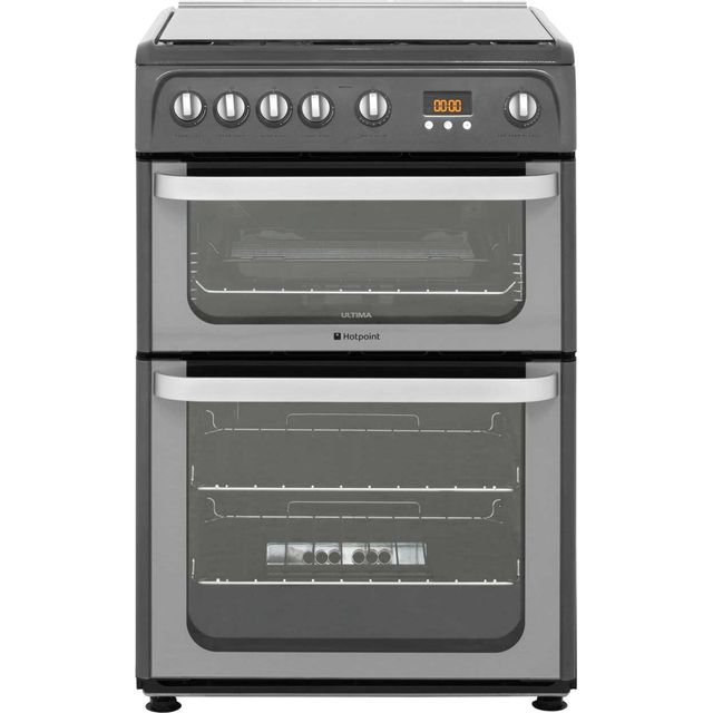 Hotpoint Ultima HUG61G Gas Cooker with Gas Grill - Graphite