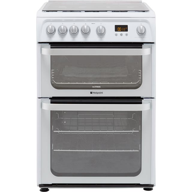 Hotpoint Ultima HUG61P 60cm Gas Cooker with Variable Gas Grill - White - A+/A Rated
