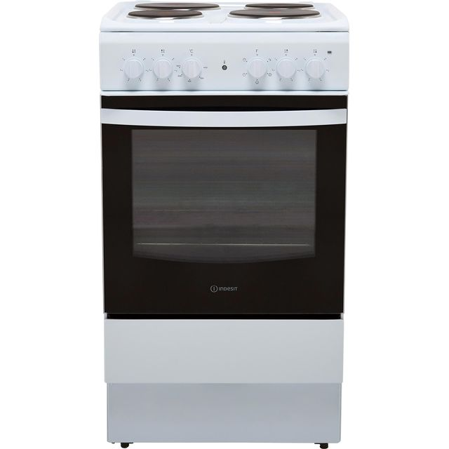 Indesit Cloe IS5E4KHW 50cm Electric Cooker with Solid Plate Hob - White - A Rated