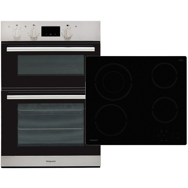 Hotpoint K002970 Built In Electric Electric Double Oven and Ceramic Hob Pack - Stainless Steel / Black - A/A Rated