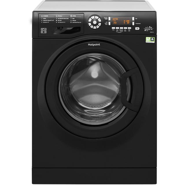 Hotpoint WMAOD844K 8Kg Washing Machine with 1400 rpm - Black - A+++ Rated - WMAOD844K_BK - 1