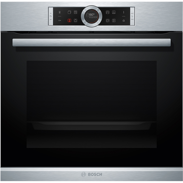 Bosch Serie 8 HRG675BS1B Built In Electric Single Oven with added Steam Function - Stainless Steel - A+ Rated - HRG675BS1B_SS - 1