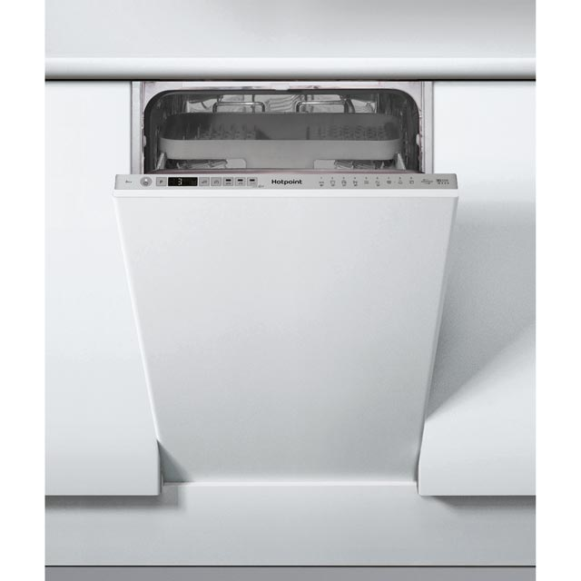 Hotpoint HSIO3T223WCEUK Fully Integrated Slimline Dishwasher - Silver Control Panel with Fixed Door Fixing Kit - A++ Rated - HSIO3T223WCEUK_SI - 1