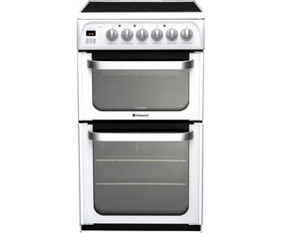 Hotpoint Ultima HUE53PS Electric Cooker with Ceramic Hob - White - A/B Rated