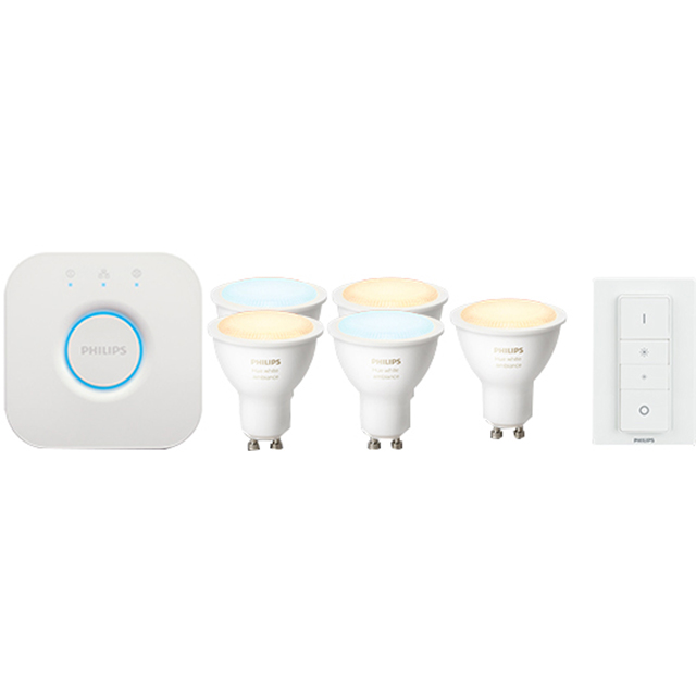 Philips Hue Bundle - 5 GU10 White Ambiance Bulbs, Dimmer Switch & Bridge - A Rated - HUE5XGU10DIM - 1
