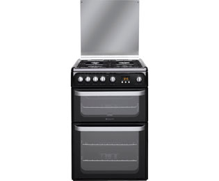Hotpoint HUG61K Cooker Freestanding Gas Double Oven Black Best Price and Cheapest