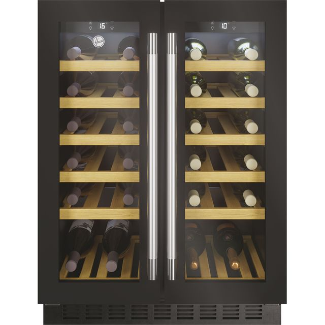 Hoover H-WINE 700 HWCB60DUK Built Under Wine Cooler - Black Glass / Steel - G Rated