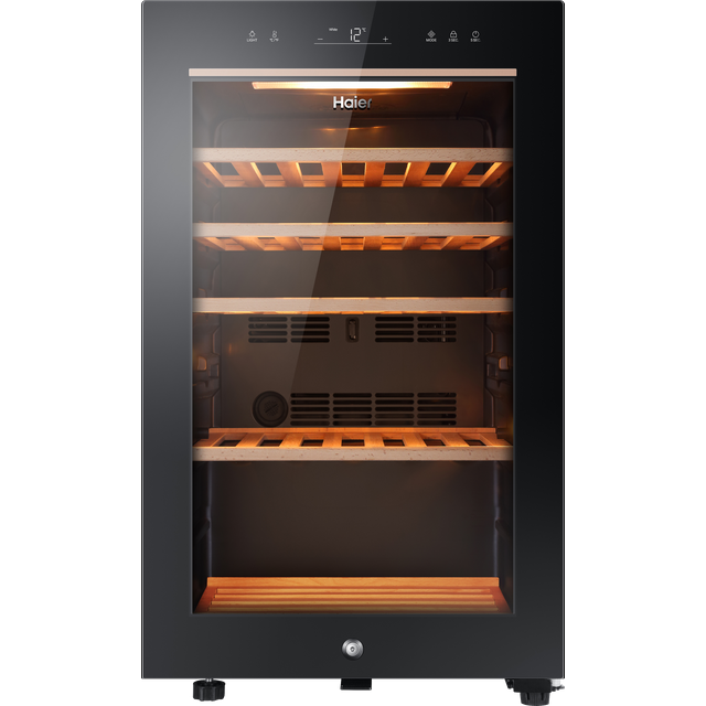 Home  Refrigerators  Wine Coolers  Haier HWS49GA  Haier HWS49GA Wine Cooler - Black - A Rated 5/5 £449   A Product data sheet Add to basket Product Overview Impress your party guests with this stylish wine cooler from Haier. It holds up to 49 bottles, giving you plenty of room for everyone's favourite chardonnay or sauvignon blanc. With a temperature range between 5 and 20 degrees, you can easily adjust the climate inside to keep your collection in the best condition too. And the special Anti UV glass door blocks harmful UV rays to protect your wine, so you can place it where you like in the kitchen without worry. The door can also be adjusted to open from either the left or right, making it easier to place it where you want in your kitchen.  Haier HWS49GA Wine Cooler - Black - A Rated