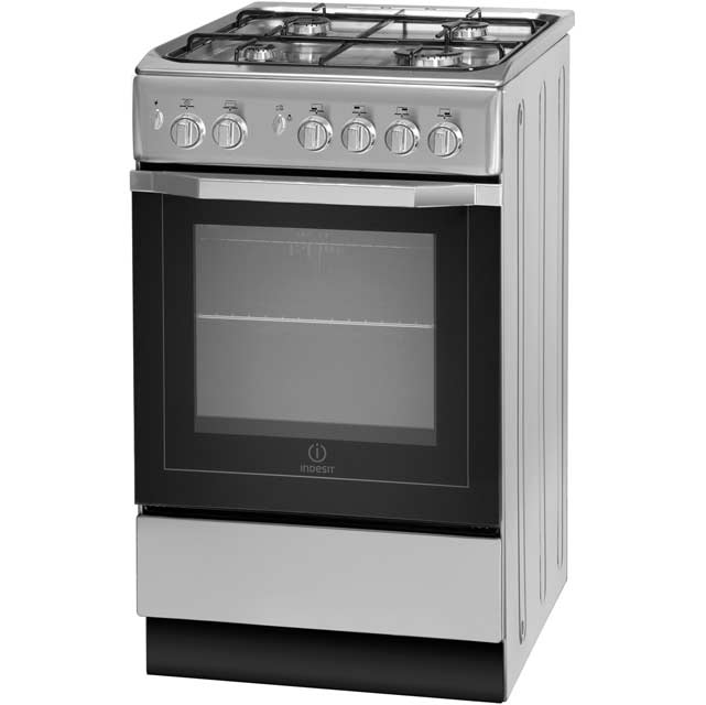 Indesit I5GG1S Gas Cooker - Silver - A Rated - I5GG1S_SI - 1