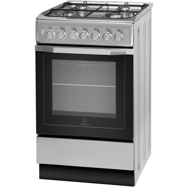 Indesit I5GSH1S Dual Fuel Cooker - Silver