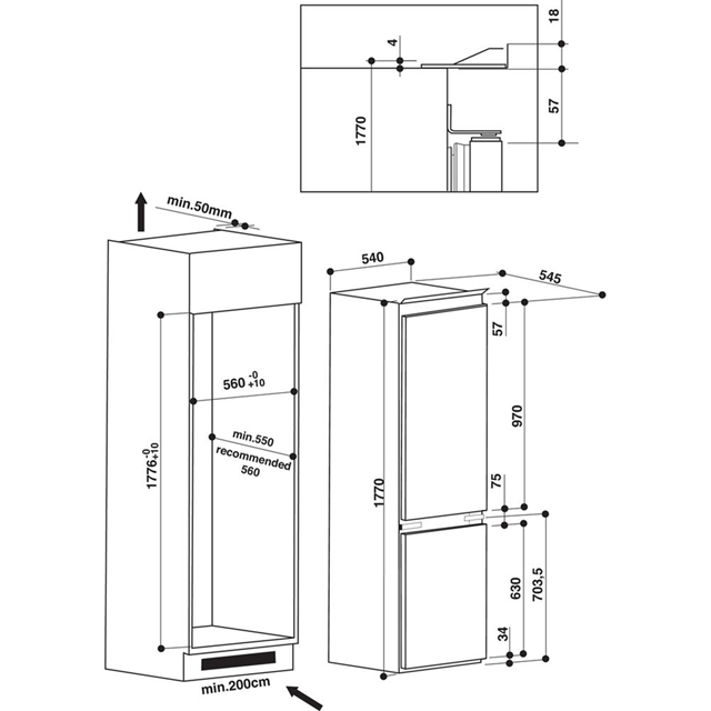 indesit ib7030a1d 1 integrated 70/30 fridge freezer with sliding door  fixing kit