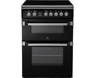 Indesit Advance ID60C2KS Electric Cooker with Ceramic Hob - Black - B/B Rated - ID60C2KS_BK - 1
