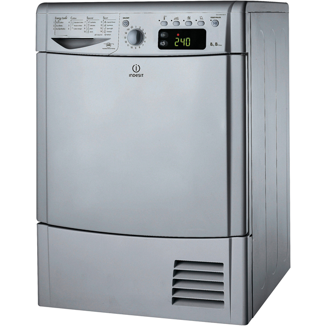 Indesit Eco Time IDCE8450BSH 8Kg Condenser Tumble Dryer - Silver - B Rated - IDCE8450BSH_SI - 1