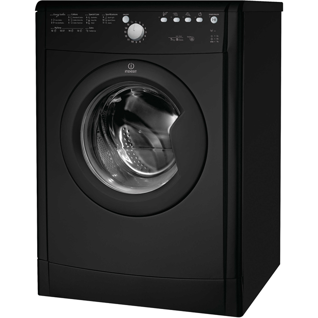 Indesit Eco Time IDVL75BRK Vented Tumble Dryer - Black - IDVL75BRK_BK - 1