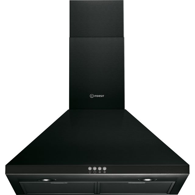 Indesit 60 cm Chimney Cooker Hood - Black - D Rated