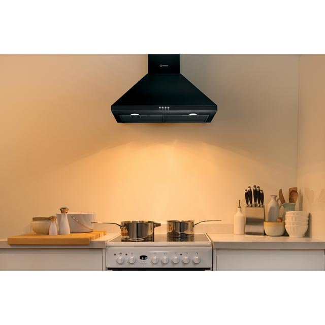 Indesit IHPC6.4LMK 60 cm Chimney Cooker Hood - Black - IHPC6.4LMK_BK - 2