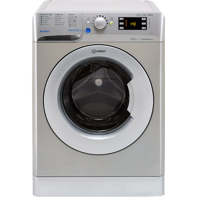 Indesit BWE91484XSUK 9Kg Washing Machine with 1400 rpm - Silver - A+++ Rated - BWE91484XSUK_SI - 1