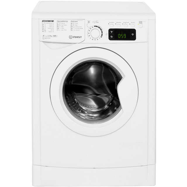 Indesit My Time EWE91482W 9Kg Washing Machine with 1400 rpm - White - EWE91482W_WH - 1