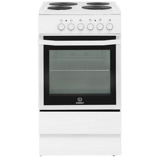 Indesit I5ESHW Electric Cooker with Solid Plate Hob - White
