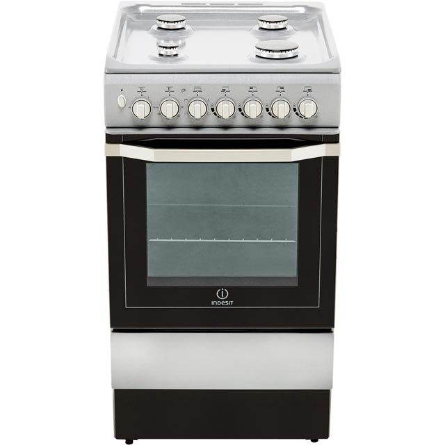 Indesit I5GSH1S Dual Fuel Cooker - Silver - I5GSH1S_SI - 5