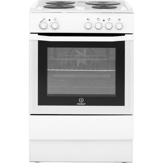 Indesit I6EVAW 60cm Electric Cooker with Solid Plate Hob - White - A Rated Best Price, Cheapest Prices