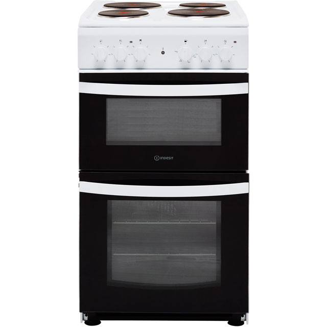 Indesit Cloe ID5E92KMW 50cm Electric Cooker with Solid Plate Hob - White - A Rated Best Price, Cheapest Prices