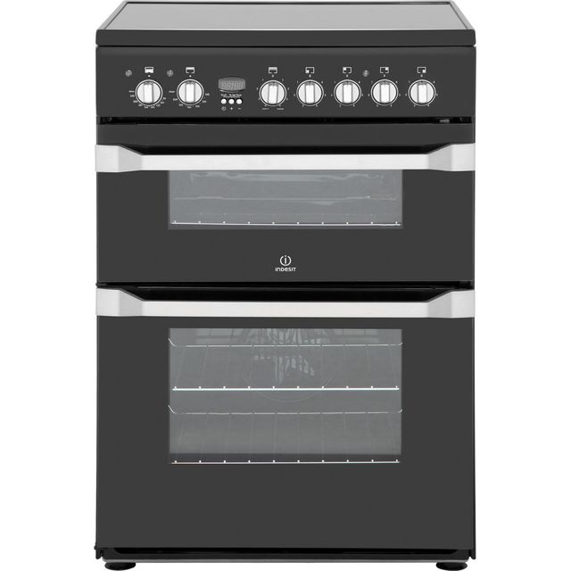 Image of Indesit Advance ID60C2KS Electric Cooker with Ceramic Hob - Black - B/B Rated