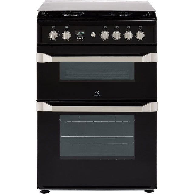 Indesit Advance ID60G2K Gas Cooker - Black - A+/A Rated - ID60G2K_BK - 1