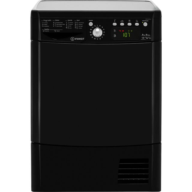 Indesit Eco Time IDCE8450BKH Condenser Tumble Dryer - Black - IDCE8450BKH_BK - 1
