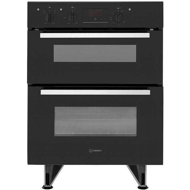 Indesit Aria IDU6340BL Built Under Double Oven With Feet - Black - B/B Rated - IDU6340BL_BK - 1
