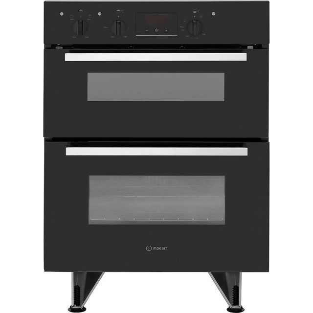 Indesit Aria IDU6340BL Built Under Electric Double Oven With Feet - Black - B/B Rated